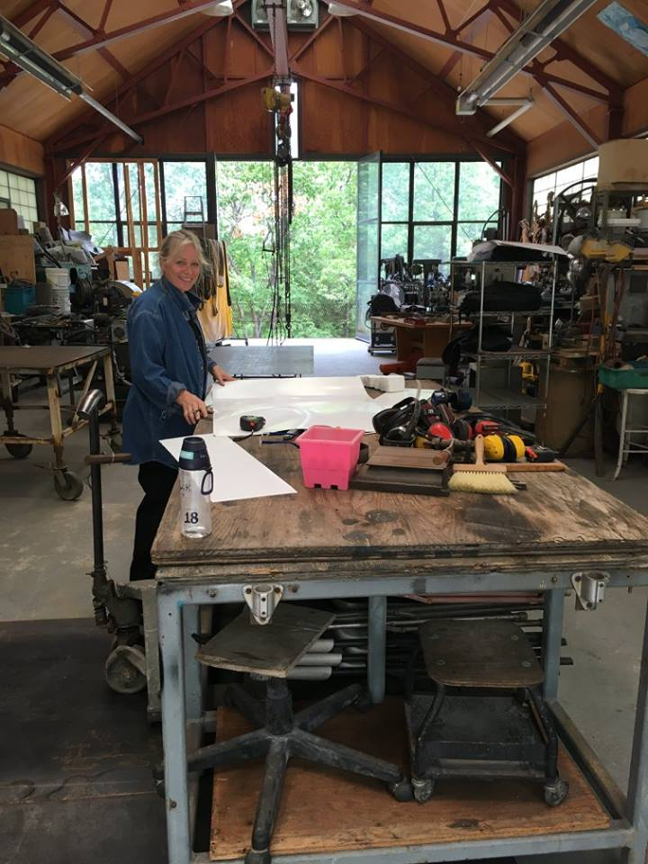 Participant, Carole Turner is happy to be building her templates for her work in welded steel