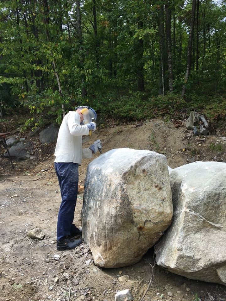 Participant, Erik Wernnerstrand is exploring his way around his granite boulder